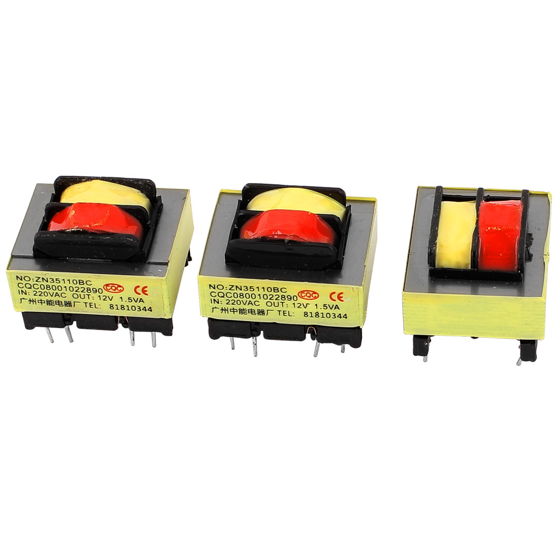 3Pcs 220V Input 12V 1.5W Output Yellow Red Ferrite Core Power Transformer w 5 Terminals