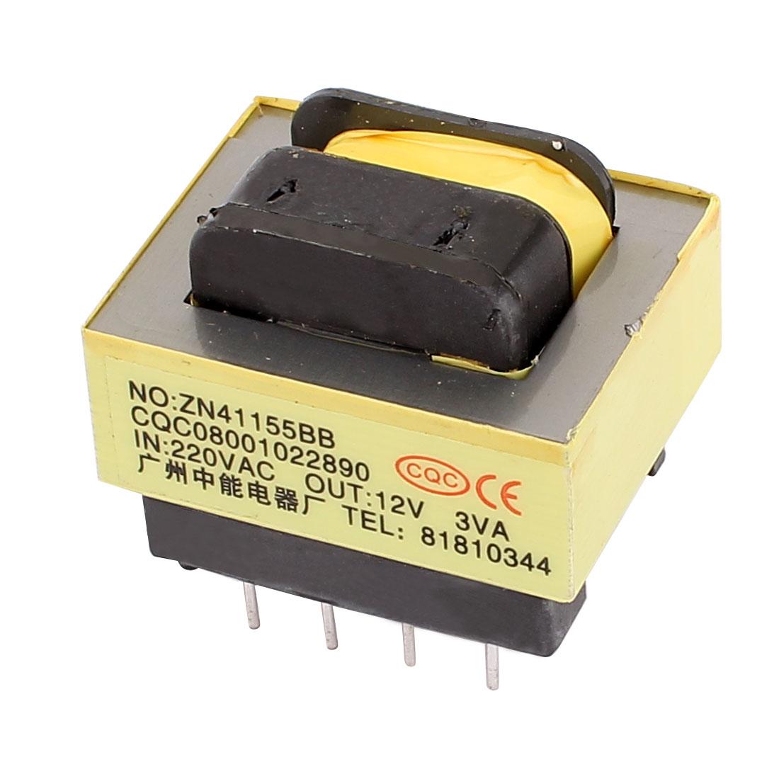 220V Input 12V 3VA Output Yellow Red Ferrite Core Power Transformer w 5 Terminals