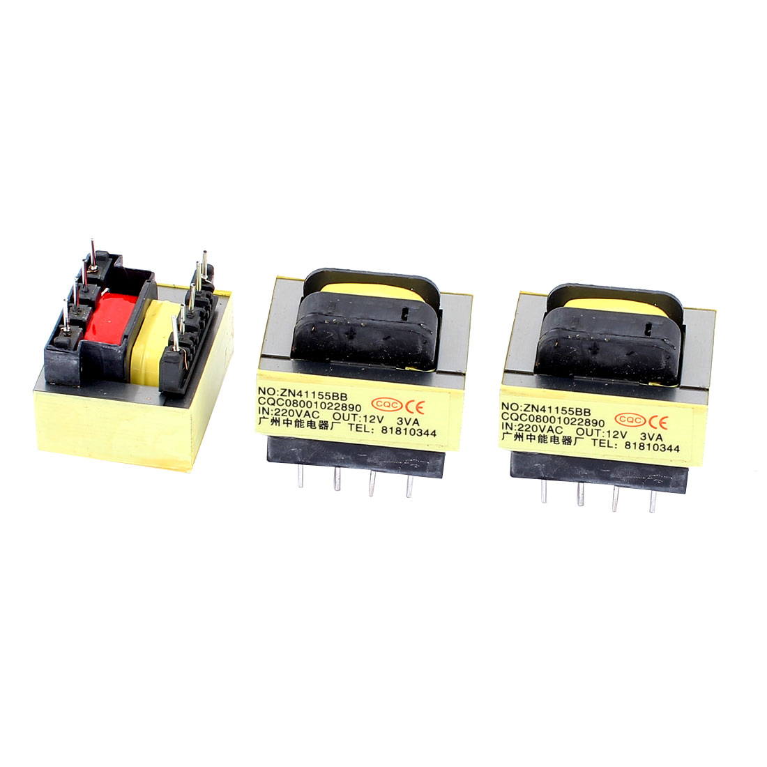 3Pcs 220V Input 12V 3VA Output Yellow Red Ferrite Core Power Transformer w 5 Terminals