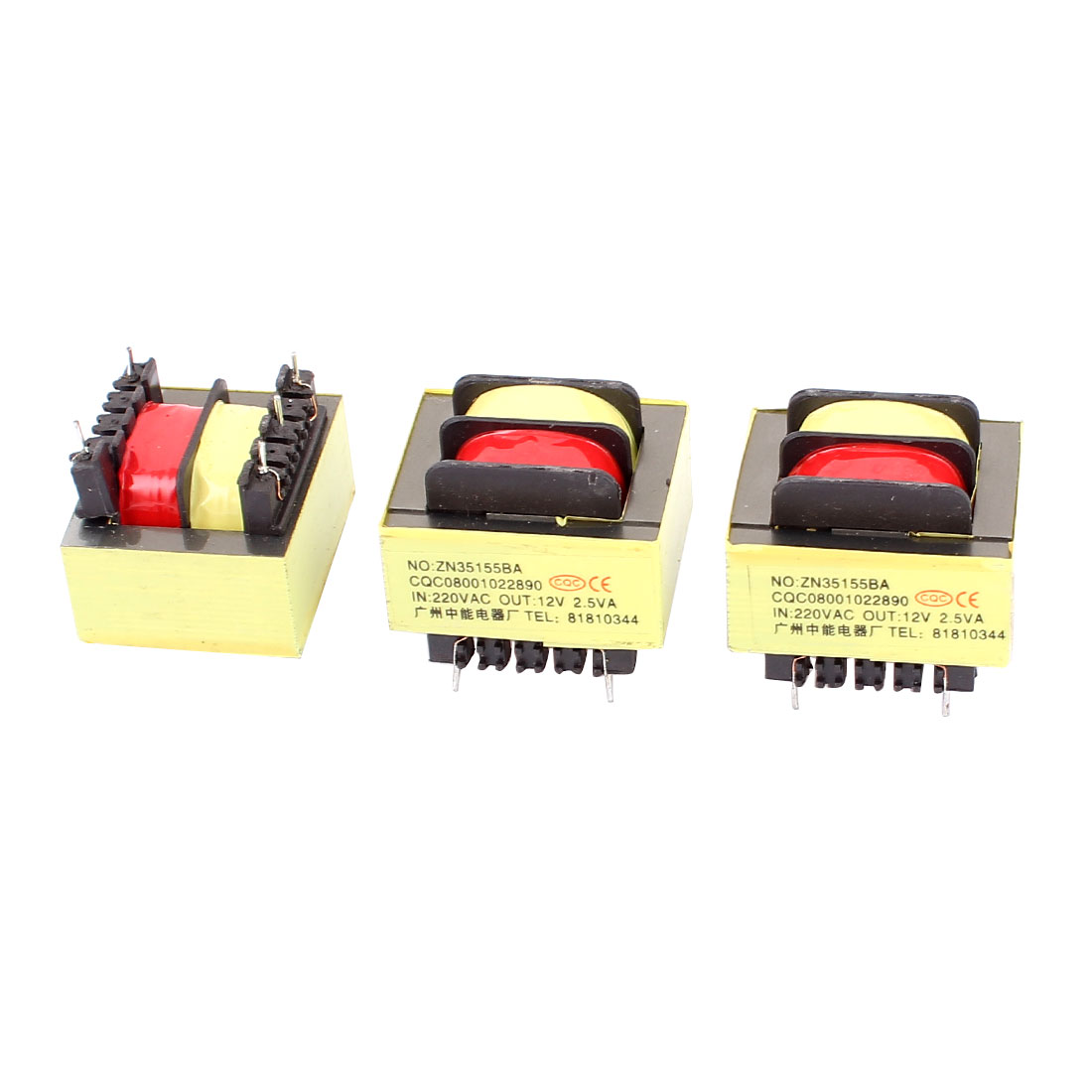 3Pcs 220V Input 12V 2.5VA Output Yellow Red Ferrite Core Power Transformer w 5 Terminals
