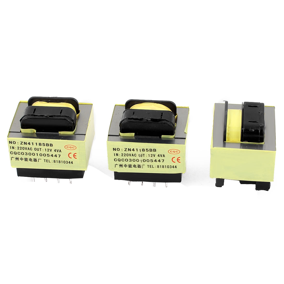 3 Pcs 220V Input 12V 4VA Output Yellow Red Ferrite Core Power Transformer w 5 Terminals