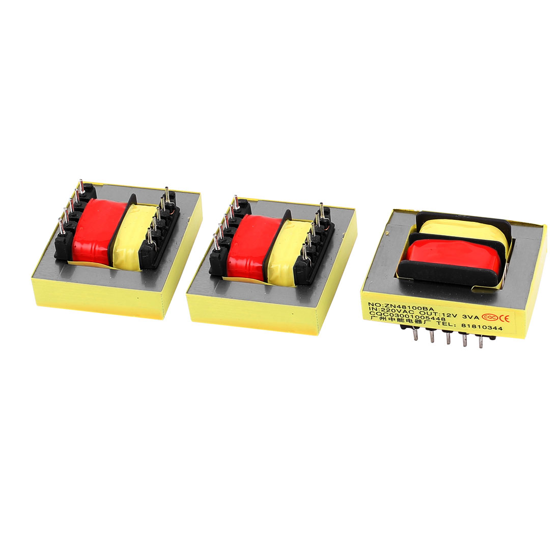 3Pcs 220V Input 12V 3VA Output Yellow Red Ferrite Core Power Transformer w 10 Terminals
