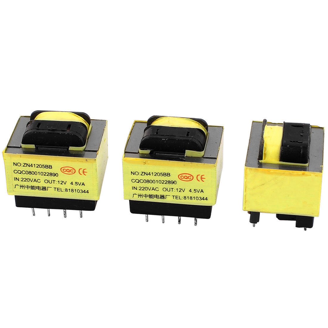 3Pcs 220V Input 12V 4.5VA Output Yellow Red Ferrite Core Power Transformer w 9 Terminals