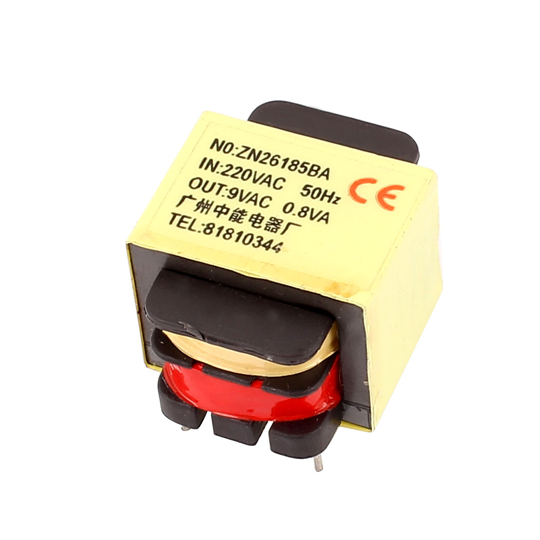 220V Input 9V 0.8W Output Yellow Red Ferrite Core Power Transformer w 5 Terminals