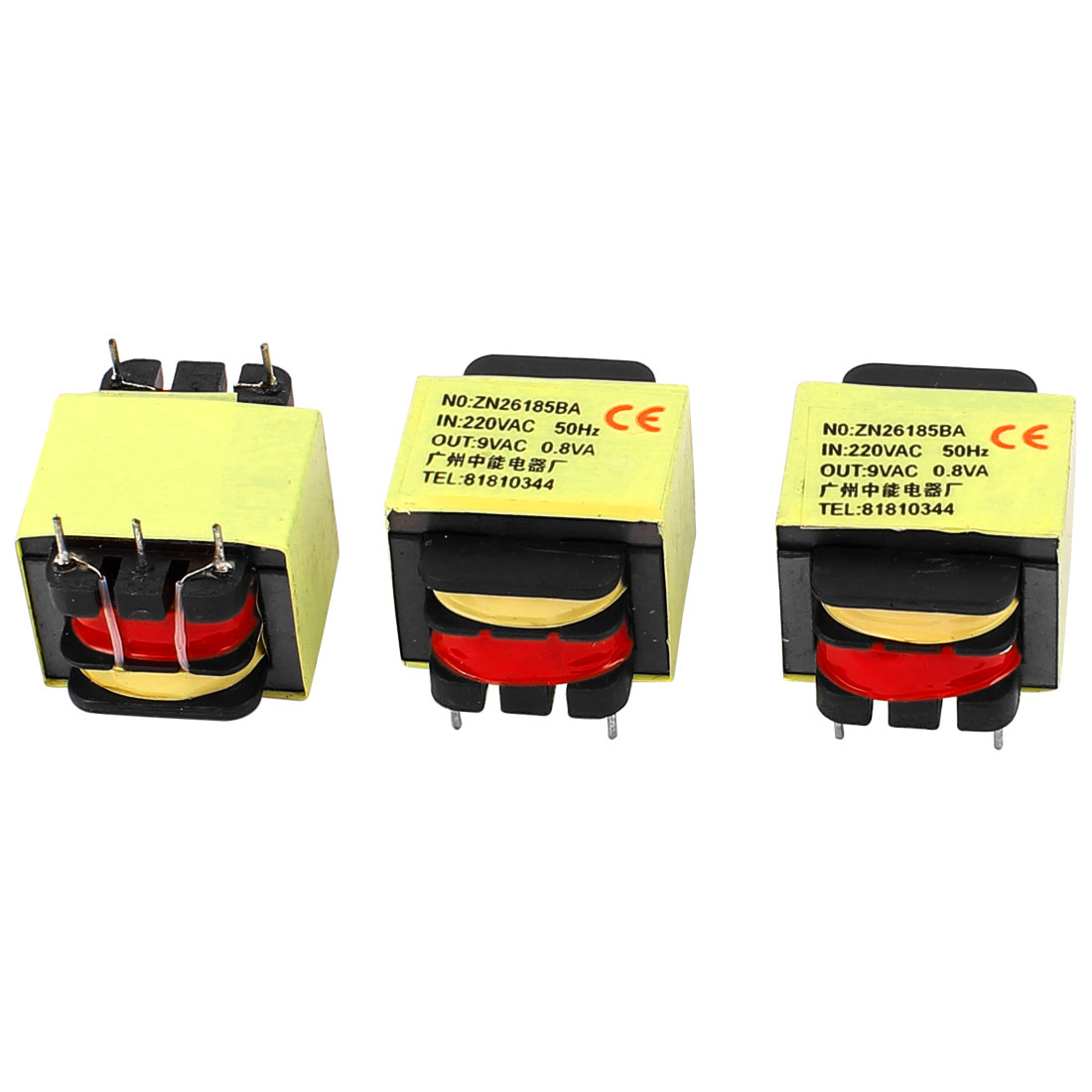 3PCs 220V Input 9V 0.8W Output Yellow Red Ferrite Core Power Transformer w 5 Terminals