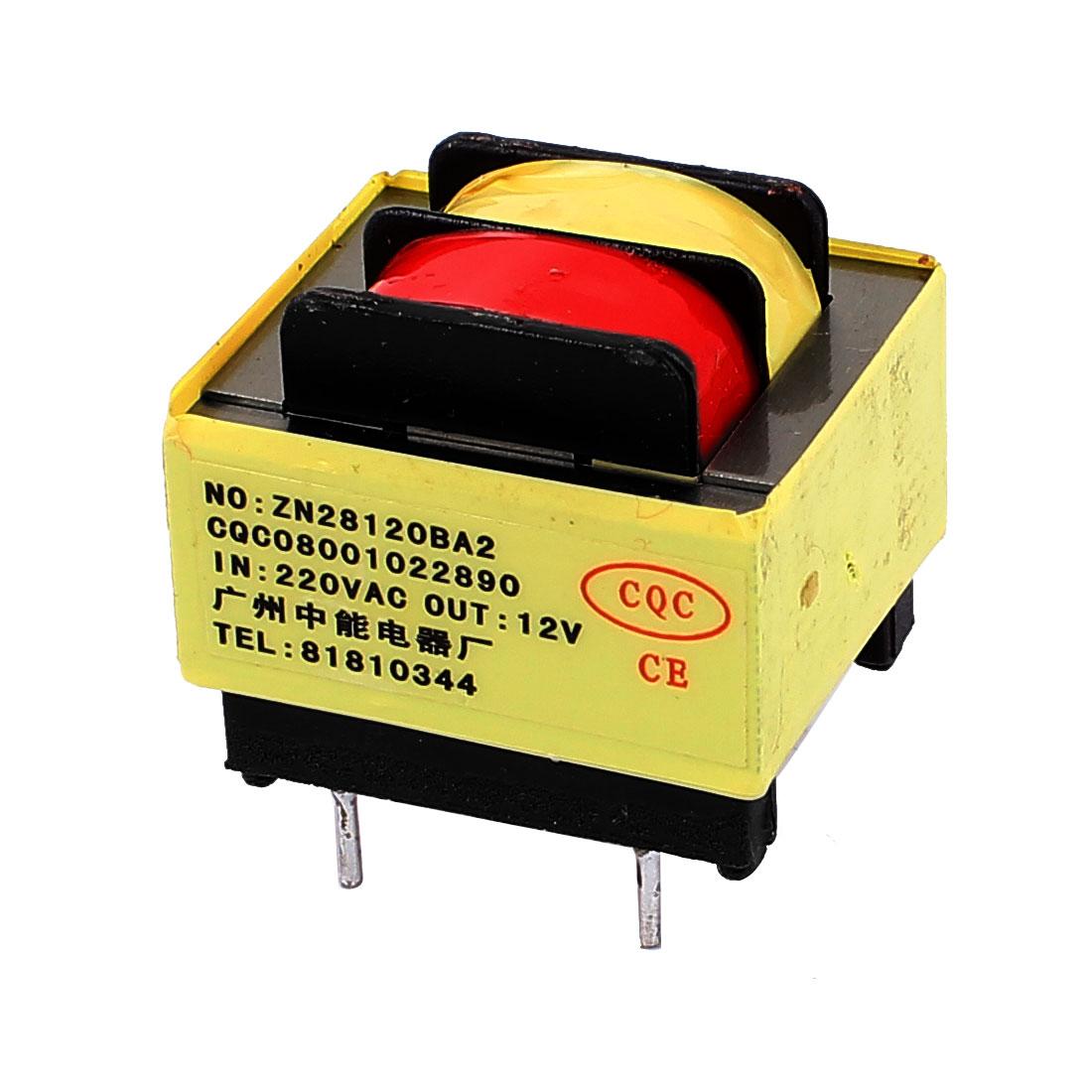 220V Input 12V 1.2VA Output Yellow Red Ferrite Core Power Transformer w 5 Terminals