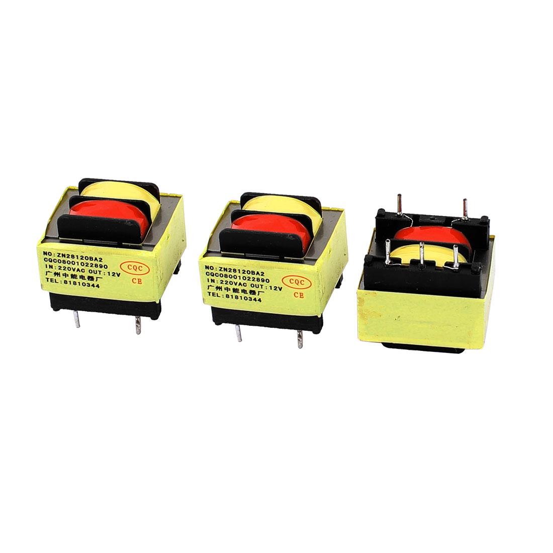 3Pcs 220V Input 12V 1.2VA Output Yellow Red Ferrite Core Power Transformer w 5 Terminals