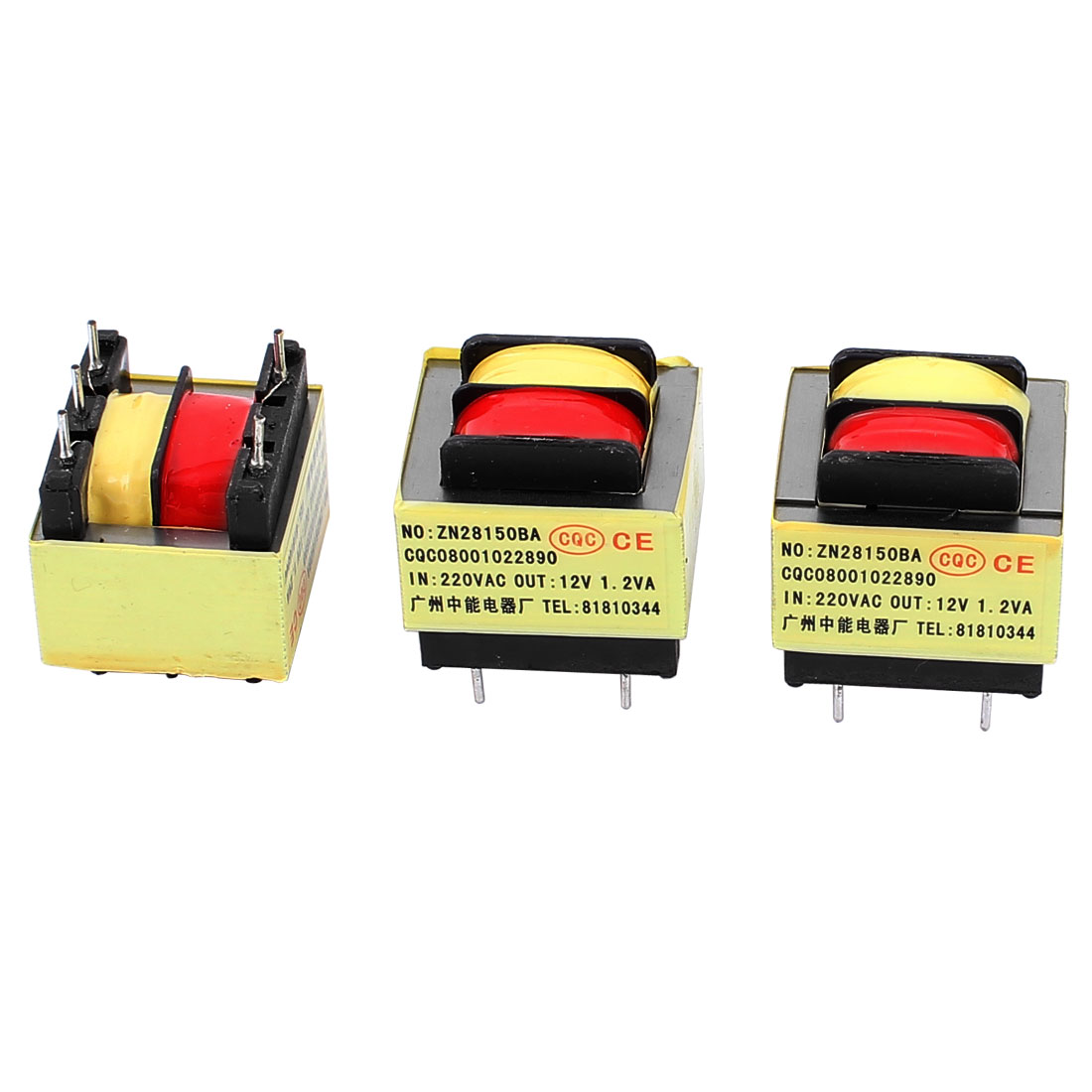 3Pcs 220V Input 12V 1.2W Output Yellow Red Ferrite Core Power Transformer w 5 Terminals