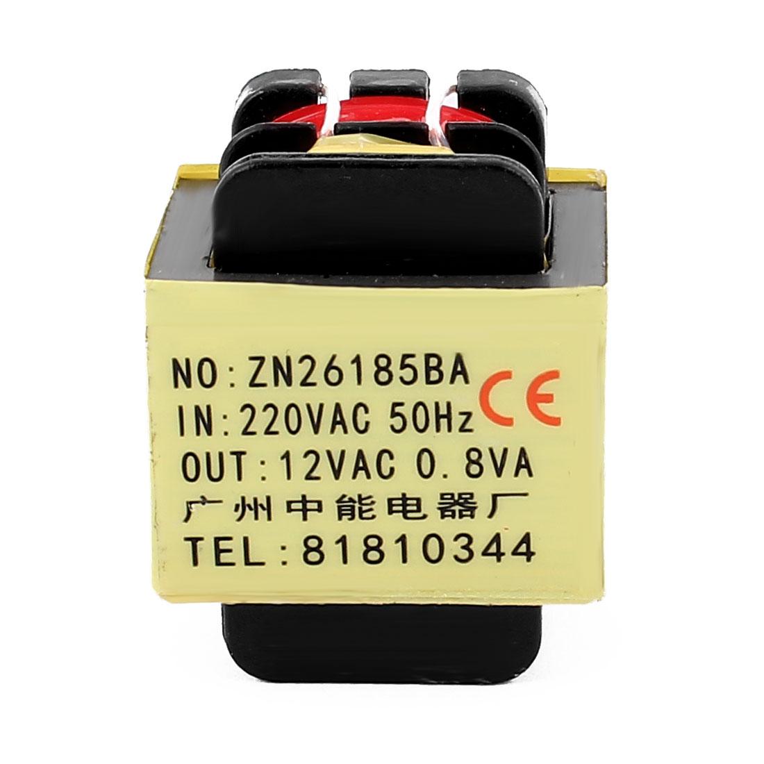 220V Input 12V 0.8VA Output Yellow Red Ferrite Core Power Transformer w 5 Terminals