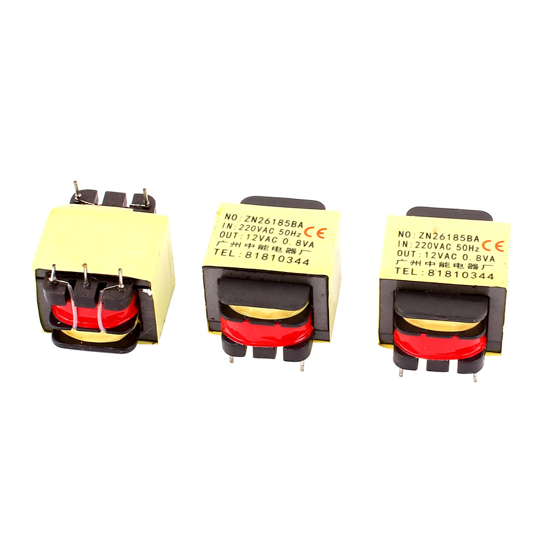 3Pcs 220V Input 12V 0.8VA Output Yellow Red Ferrite Core Power Transformer w 5 Terminals