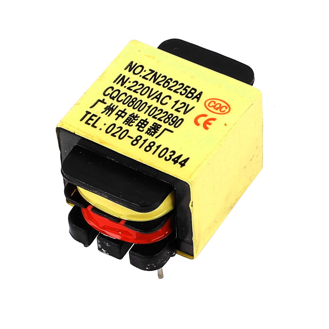 220V Input 12V 1.2VA Output Yellow Red Ferrite Core Power Transformer ZN26225BA