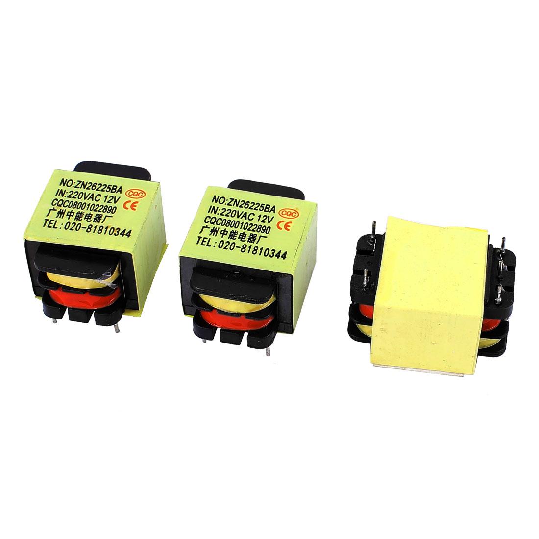 3Pcs 220V Input 12V 1.2VA Output Yellow Red Ferrite Core Power Transformer ZN26225BA