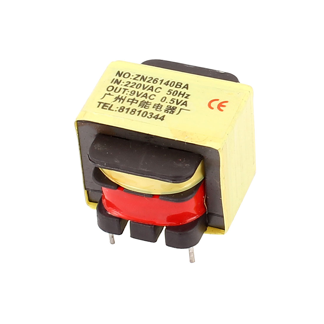 220V Input 9V 0.5VA Output Yellow Red Ferrite Core Power Transformer w 5 Terminals