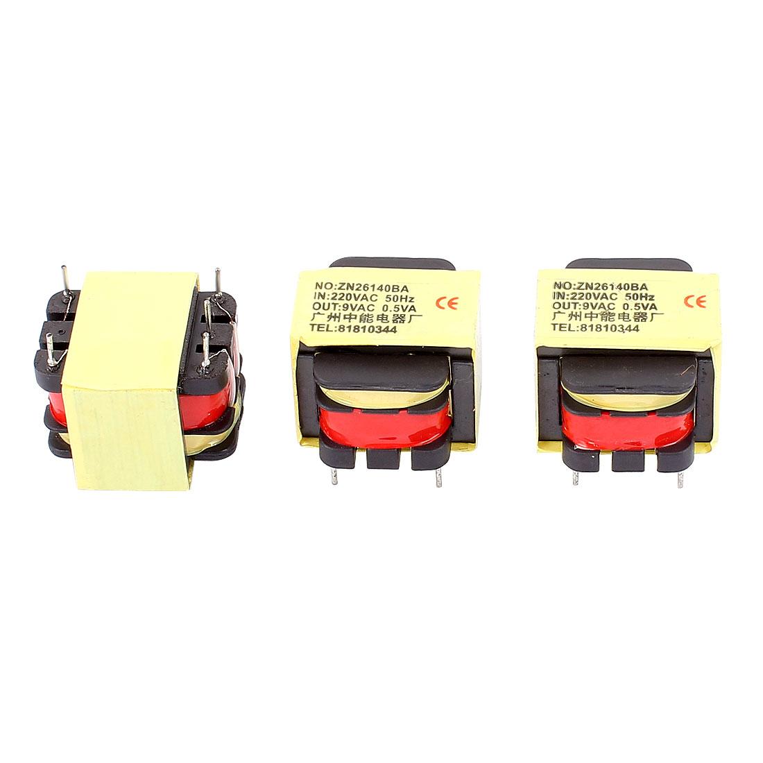 3Pcs 220V Input 9V 0.5VA Output Yellow Red Ferrite Core Power Transformer w 5 Terminals