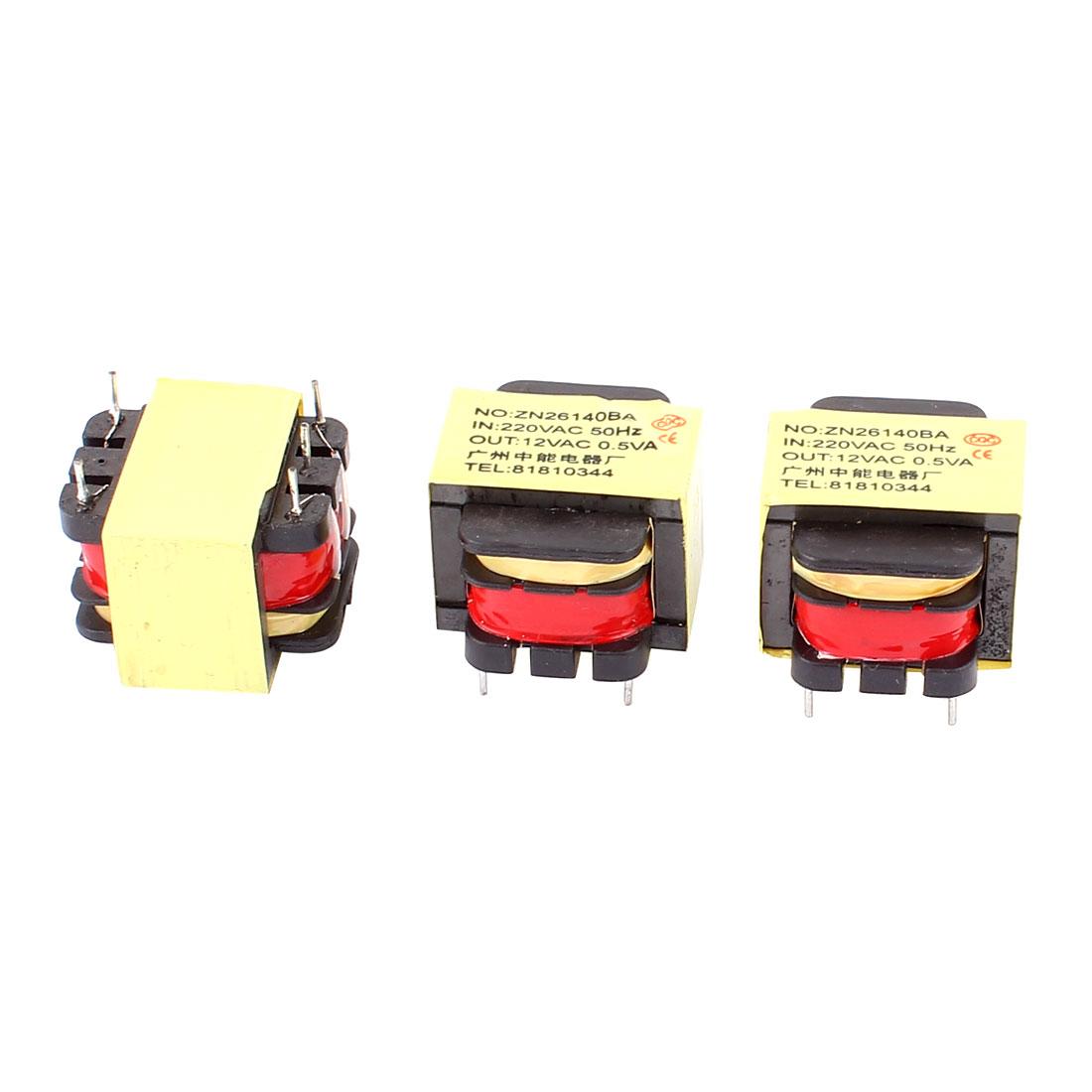 3Pcs 220V Input 12V 0.5VA Output Yellow Red Ferrite Core Power Transformer w 5 Terminals