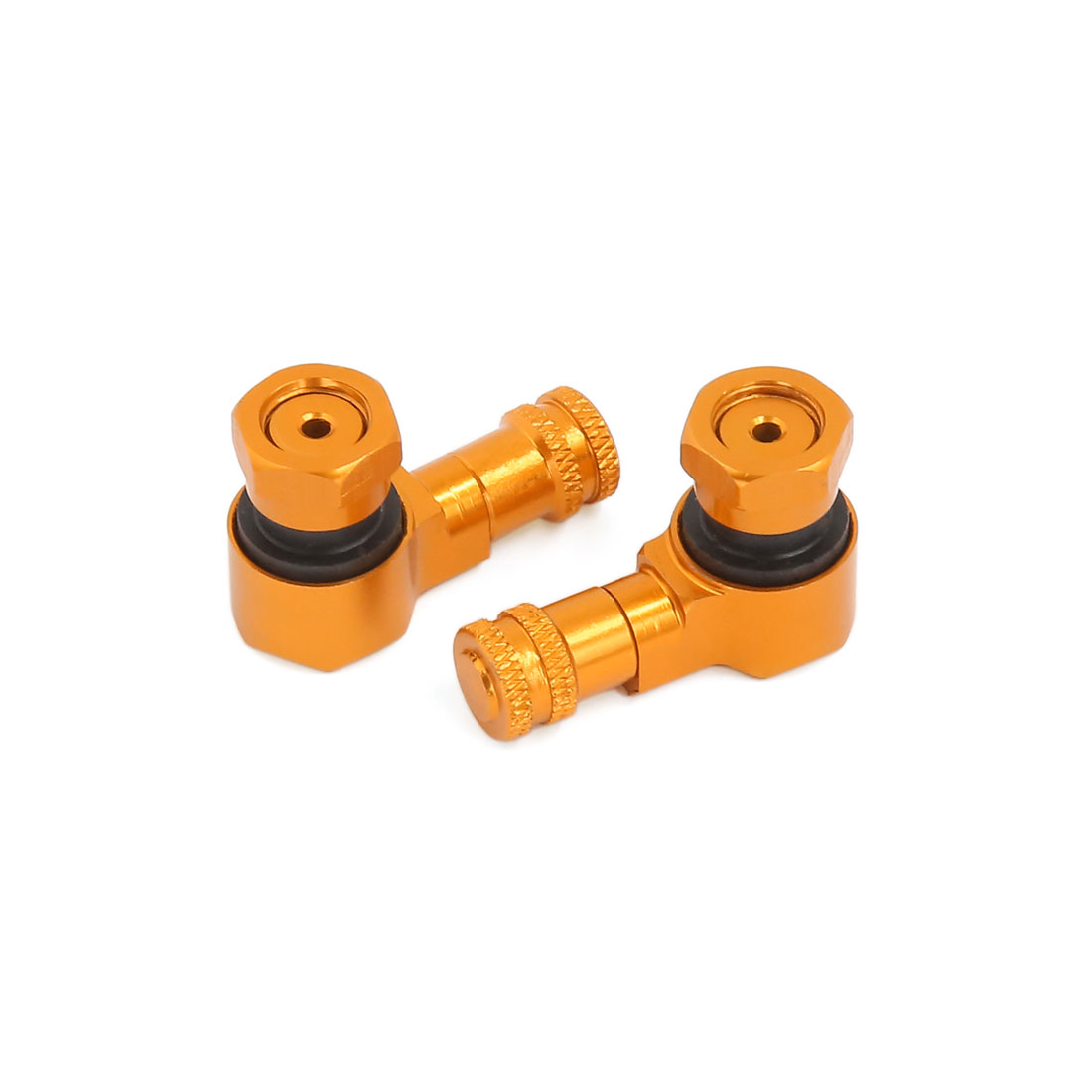 Motorcycle Scooter Tubeless Tire 90 Degree Bent Angled Standard Air Valve Stem Gold Tone 2pcs