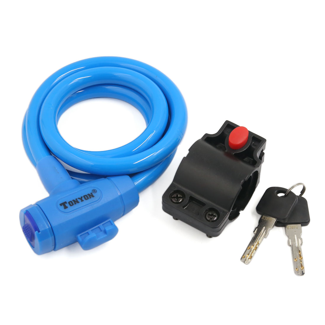 Bike Cycle Bicycle Anti Theft Device Security Wire Cable Lock Blue w 2 Keys