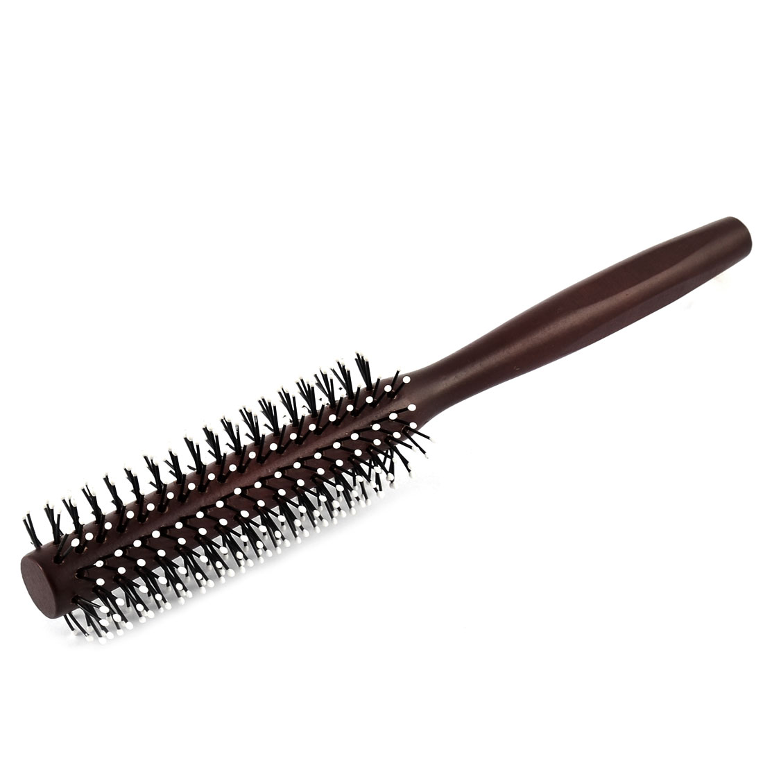 Wooden Handle Plastic Teeth Flexible Hair Care Massage Brush Curly Roll Comb Dark Red