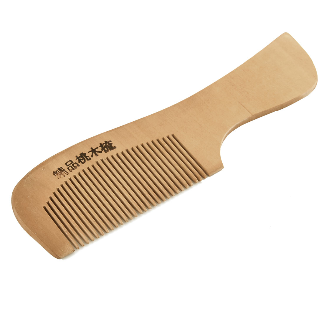 Wooden Portable Fine Toothed Wide Handle Hair Care Massage Comb Brown 17.5cm Length