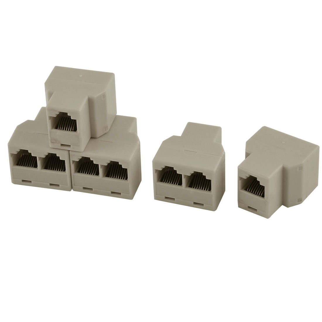 5pcs RJ45 8P8C F-to-F Network Cable Connector Adapter Extender Coupler Beige