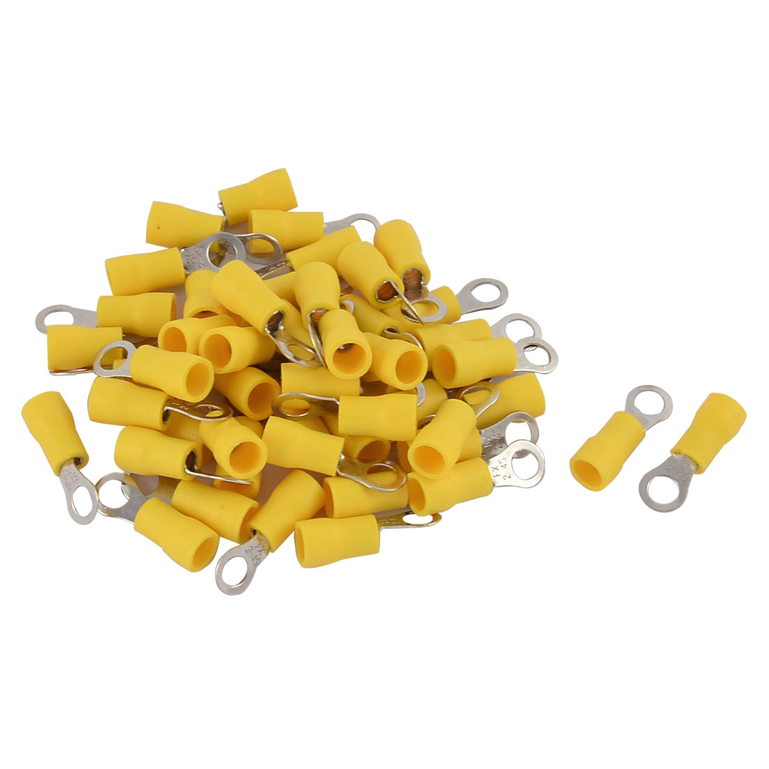50pcs FX 2-4S 16-14 AWG Gauge Pre-insulated Ring Terminals Connector Yellow