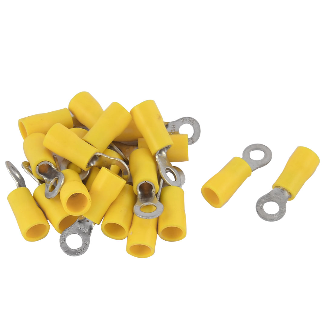 20pcs 3.5-4S Gauge Pre-insulated Ring Terminals Connector Yelllow