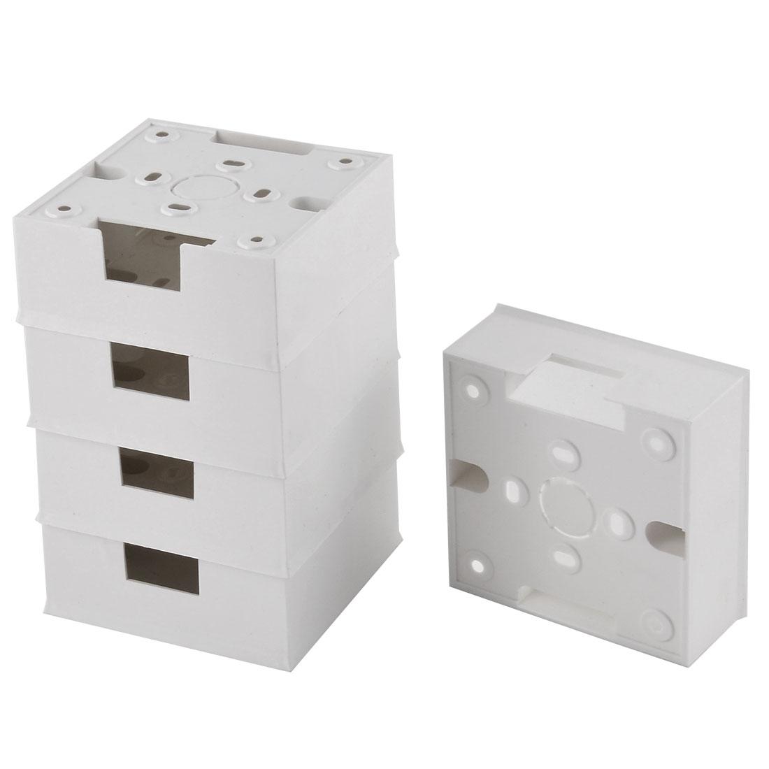 5pcs 85mm x 85mm x 34mm White PVC Single Gang Wiring Mount Back Box for Wall Socket