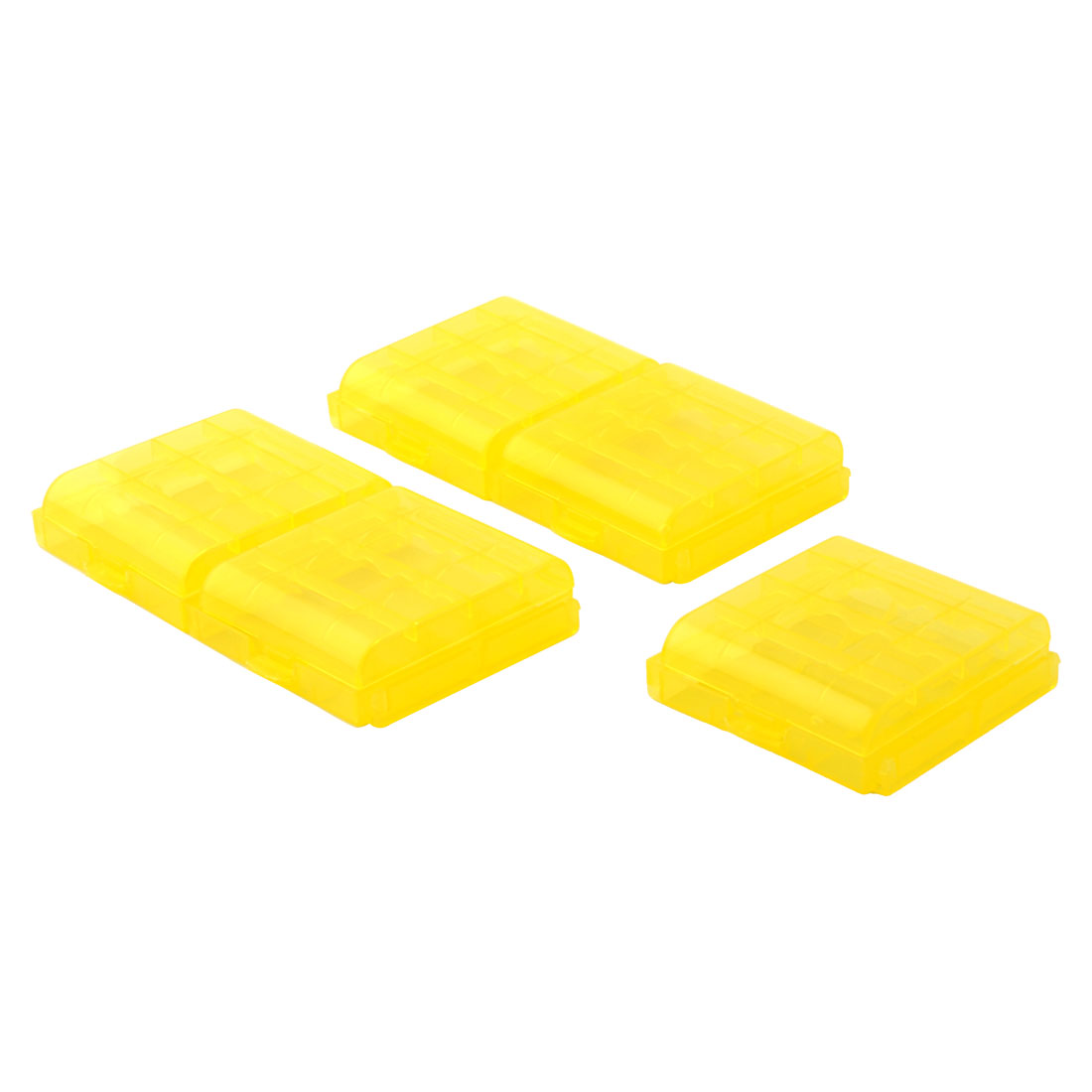 5Pcs Transparent Yellow Plastic Battery Compartment Storage Box for AA Batteries