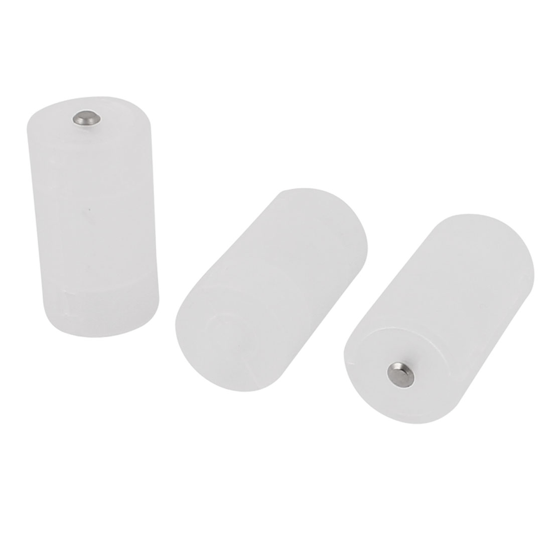 White Plastic Cell Battery Converter AA to D Size Adaptor Holder Case 3Pcs