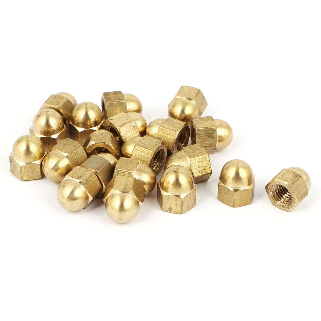 M5 Thread Dia Dome Head Brass Cap Acorn Hex Nuts 20pcs