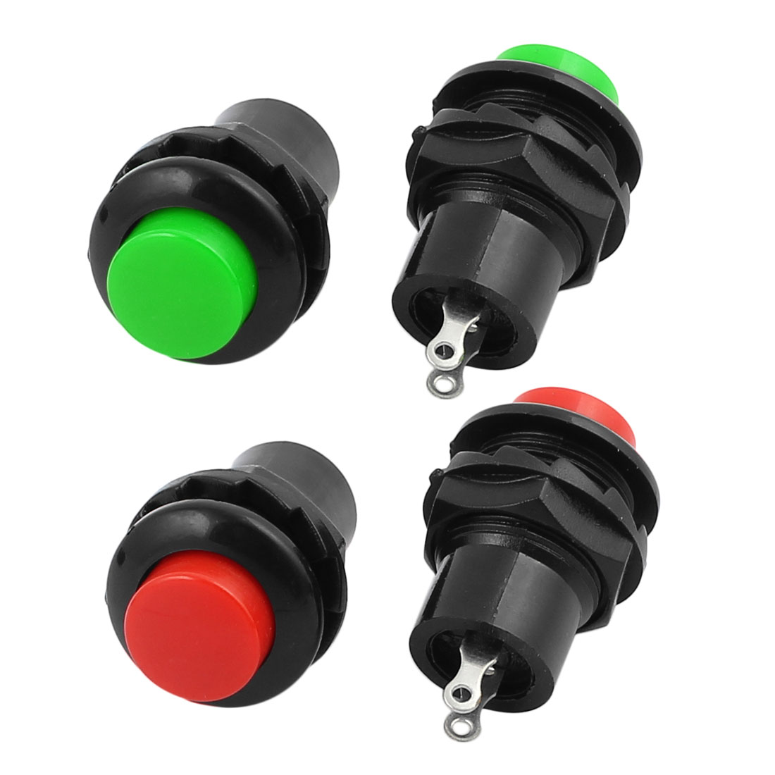 2 Sets AC250V 3A 2 Terminals SPST On/Off Momentary Push Button Switch Red Green