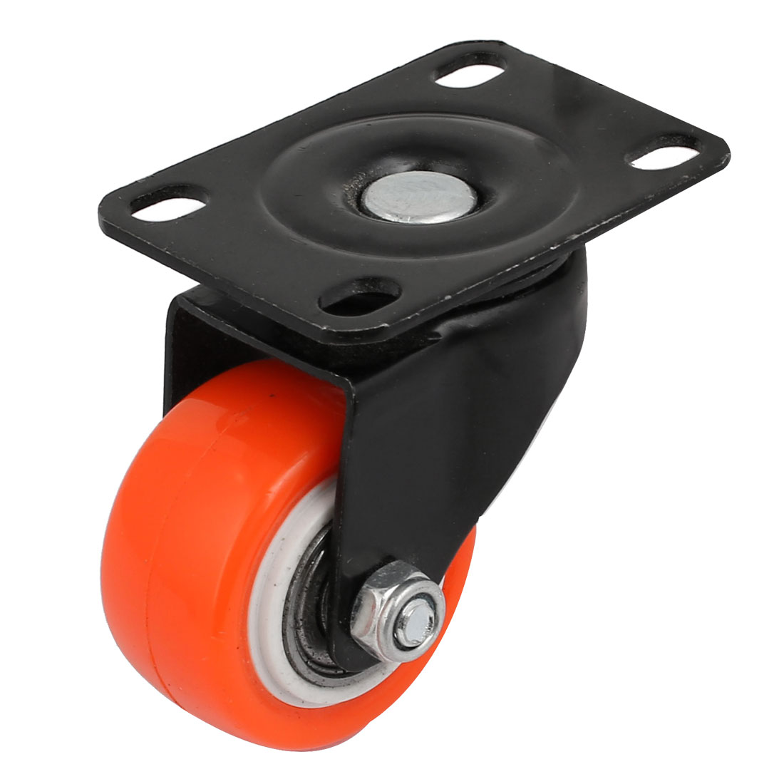 1.5-inch Dia M8 Thread Single Rectangle Swivel Caster Wheel Red