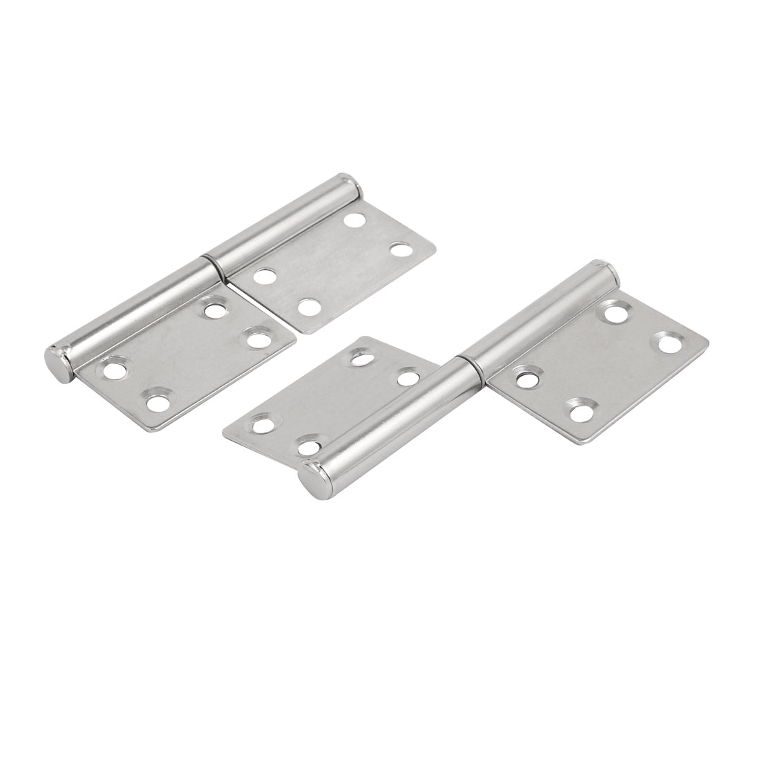 100mm Length Stainless Steel Two Leaves Detachable Flag Hinges Silver Tone 2pcs