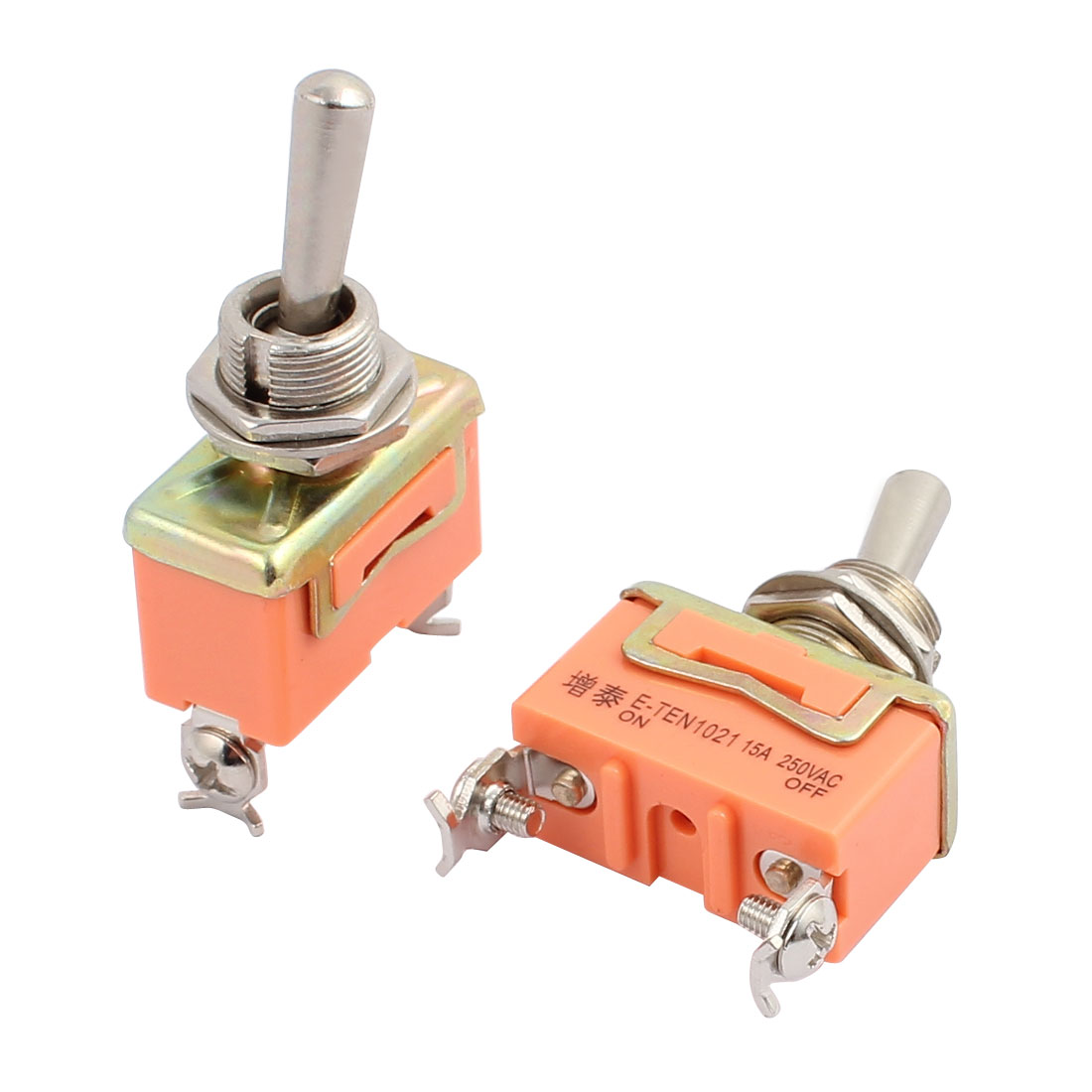 2pcs AC 250V 15A 12mm Thread Dia SPST 2-Pin 2-Position ON/OFF Toggle Switch