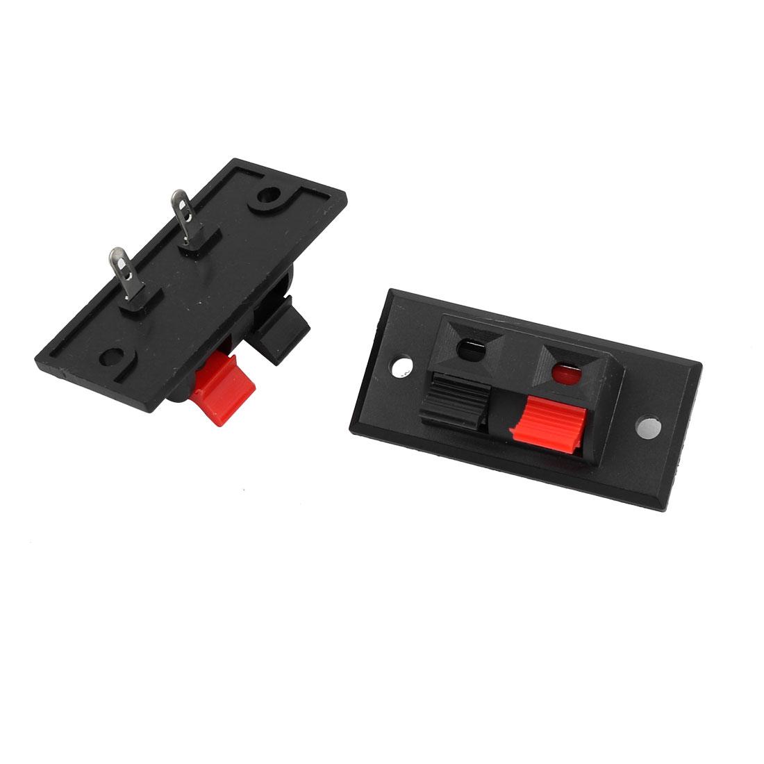 2 Pcs Single Row 1 Red 1 Black 2 Position Push Type Speaker Terminals