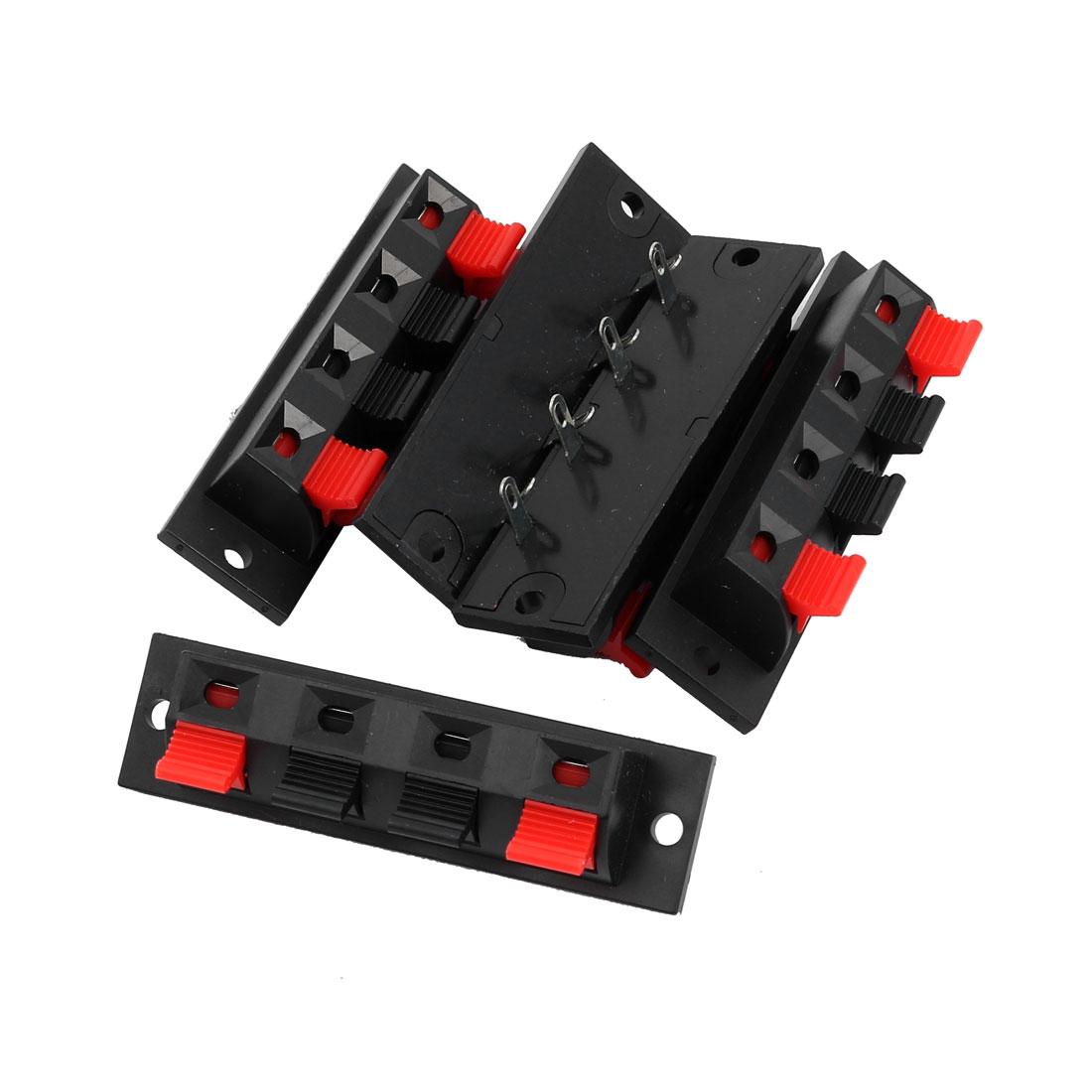 Single Row 4 Position Cable Clip Socket Push Type Speaker Terminals 5Pcs