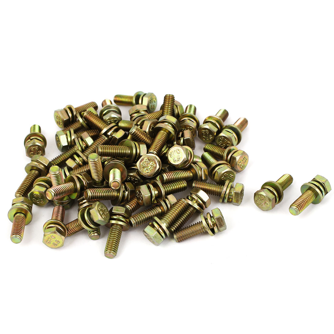 50pcs M6x20mm 8.8 Grade Yellow Zinc Plated Hex Head Bolt w Washer