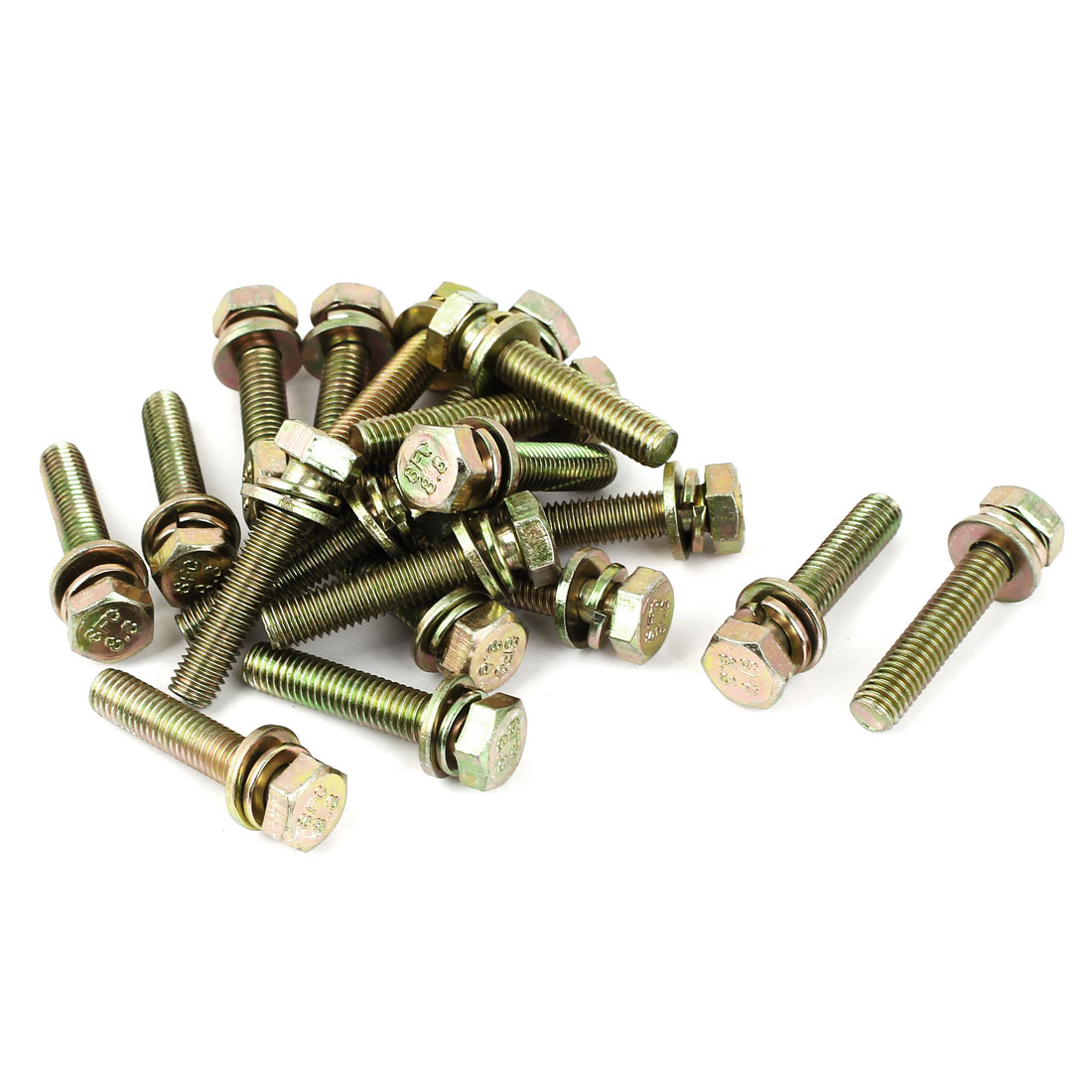 20pcs M8x40mm 8.8 Grade Yellow Zinc Plated Hex Head Bolt w Washer