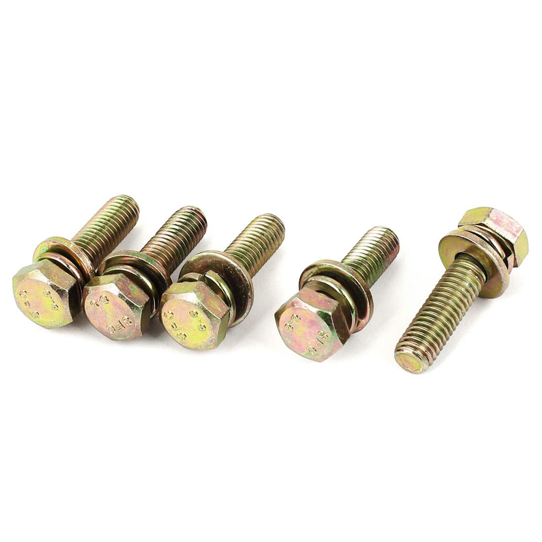 5pcs M8x30mm 8.8 Grade Yellow Zinc Plated Hex Head Bolt w Washer