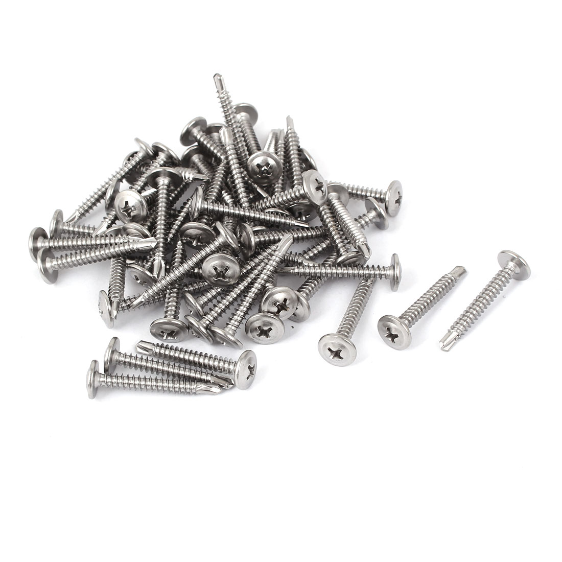 M4.2x32mm Stainless Steel Flat Phillips Head Self Drilling Tapping Screws 50pcs