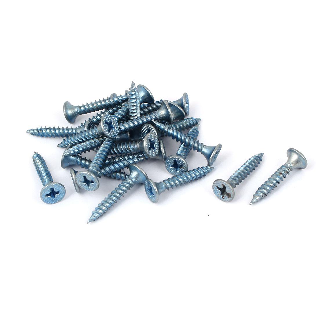 M3.5x25mm Zinc Plated Phillips Flat Head Self Tapping Screws Fastener 25pcs