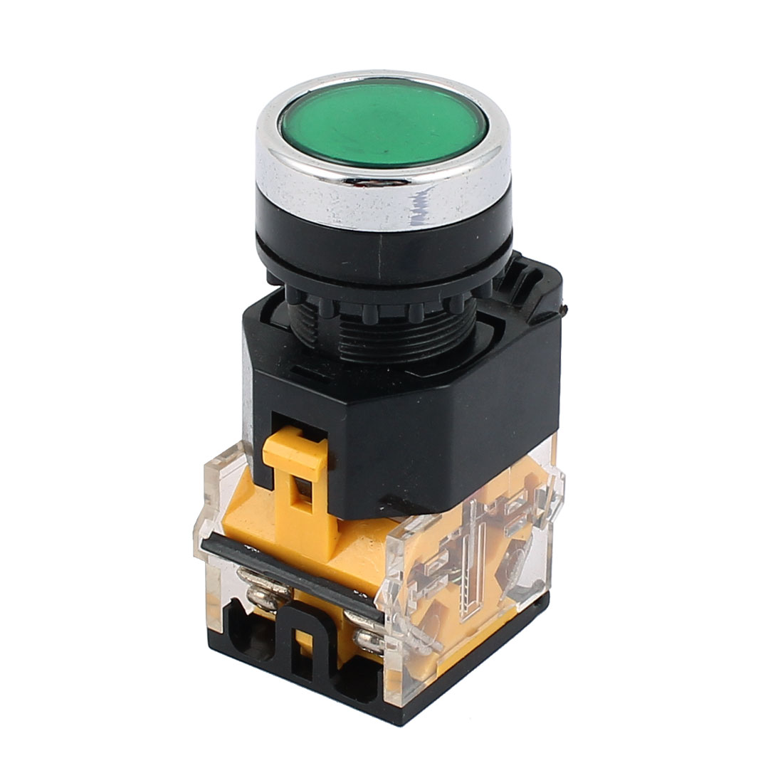AC 660V 10A 4 Terminals 22mm Thread Dia DPST NO/NC Momentary Green Push Button Switch