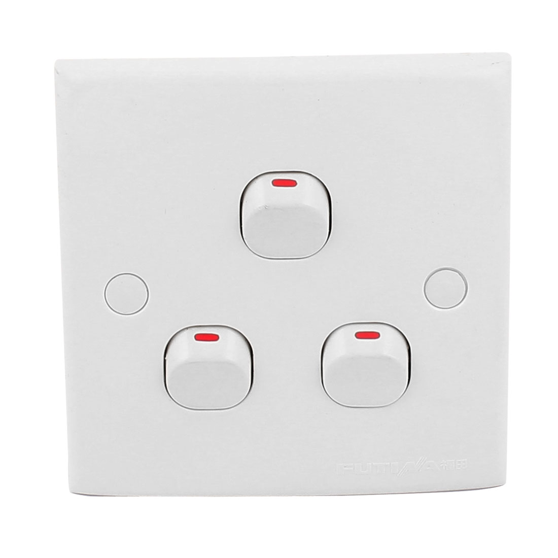 AC 250V 10A White Plastic Case 3 Gang On/Off Control Square Wall Mounting Switch