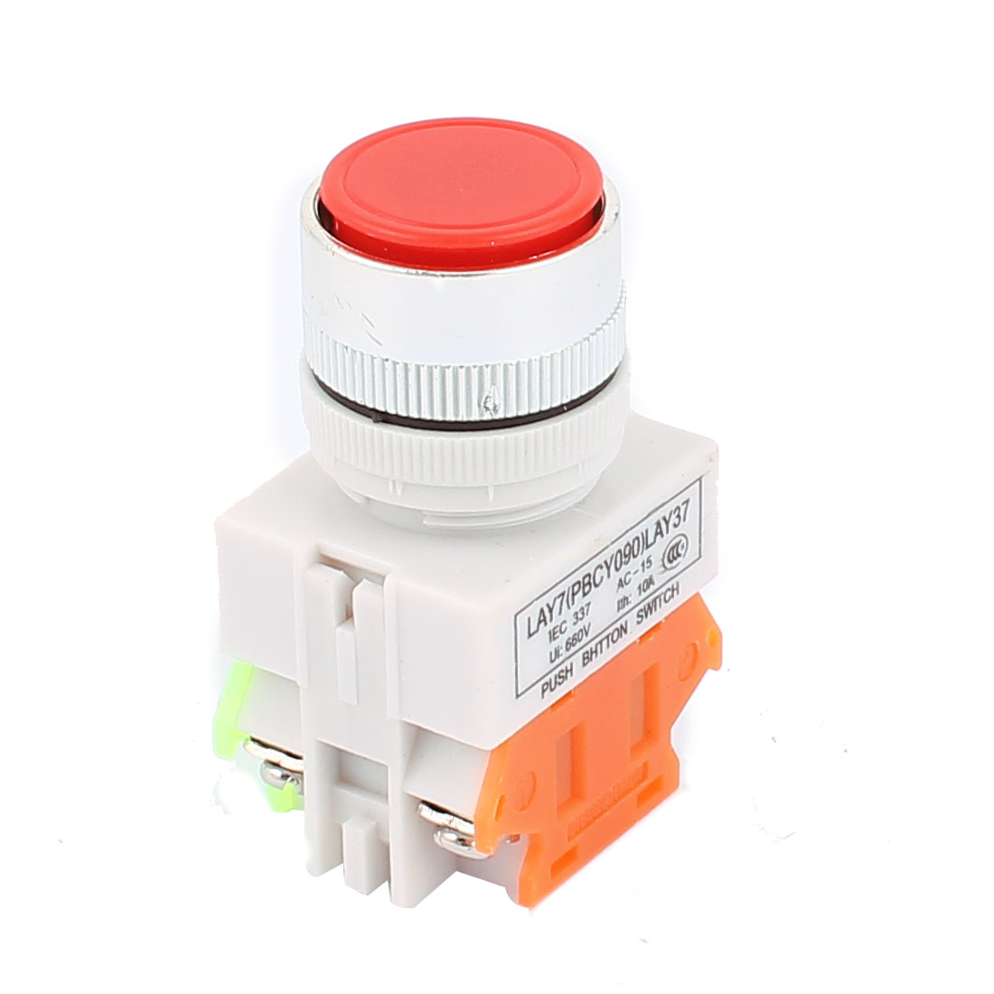 AC 660V 10A 24mm Thread Dia NO DPST Momentary Emergency Stop Push Button Switch Red