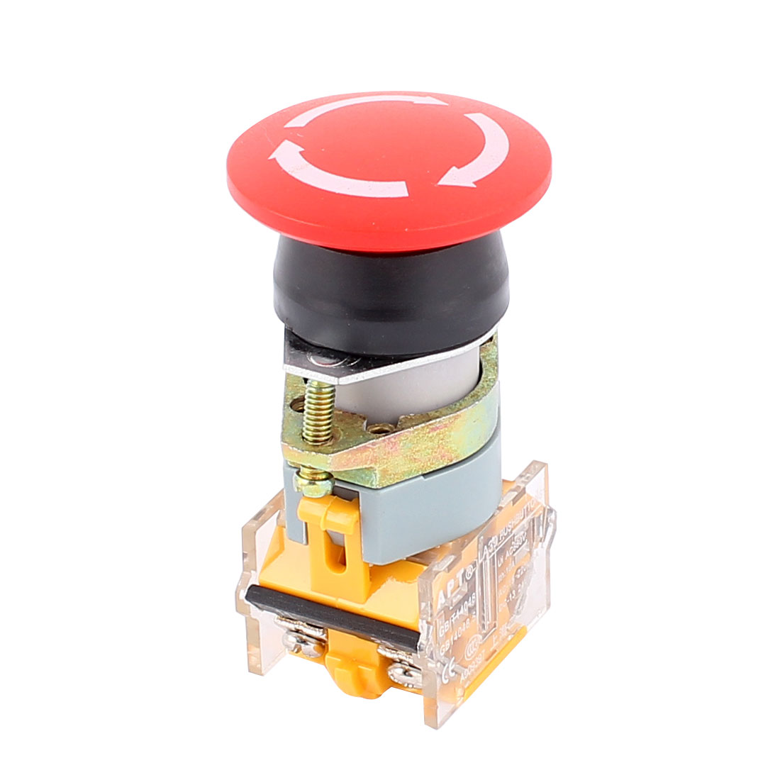 AC 660V 10A 4 Terminals Mushroom Emergency Stop NO NC Latching Push Button Switch Red