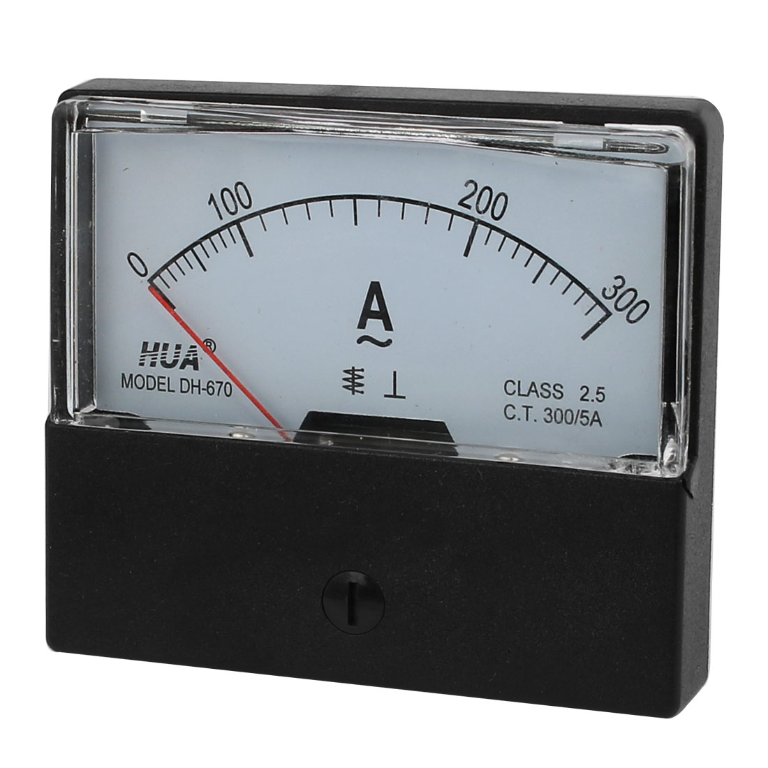 White Clear Square Plastic Shell AC 0-300A 2.5 Class Analogue Ampere Panel Meter