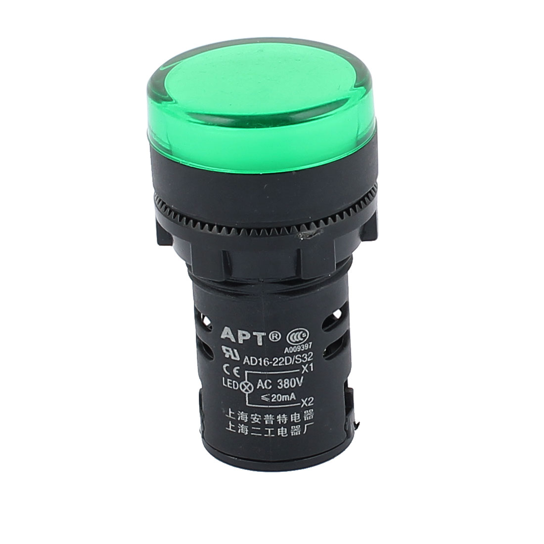 AC 380V 22mm Mount Dia Round Indicator Pilot Light Signal Lamp Green