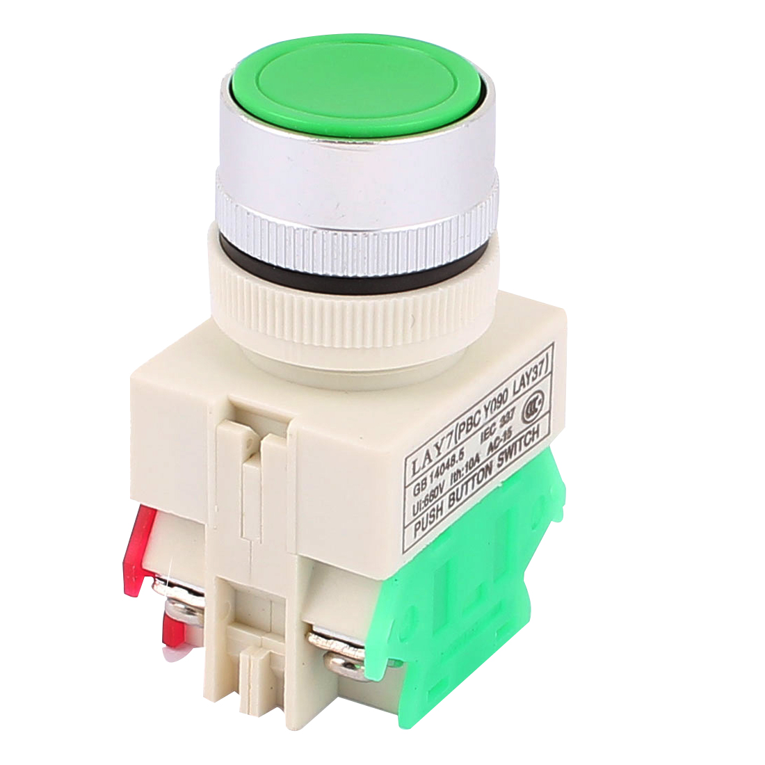 AC 660V 10A 24mm Thread Dia NO DPST Momentary Emergency Stop Push Button Switch Green