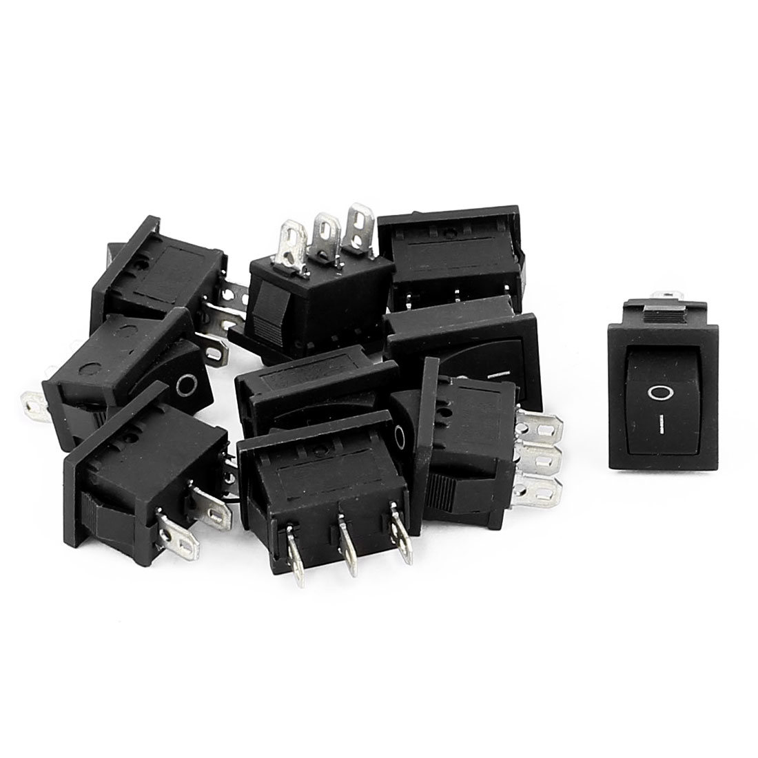AC 250V 6A 125V 10A 2 Position 3 Terminals SPDT Snap-in Rocker Boat Switch 10PCS