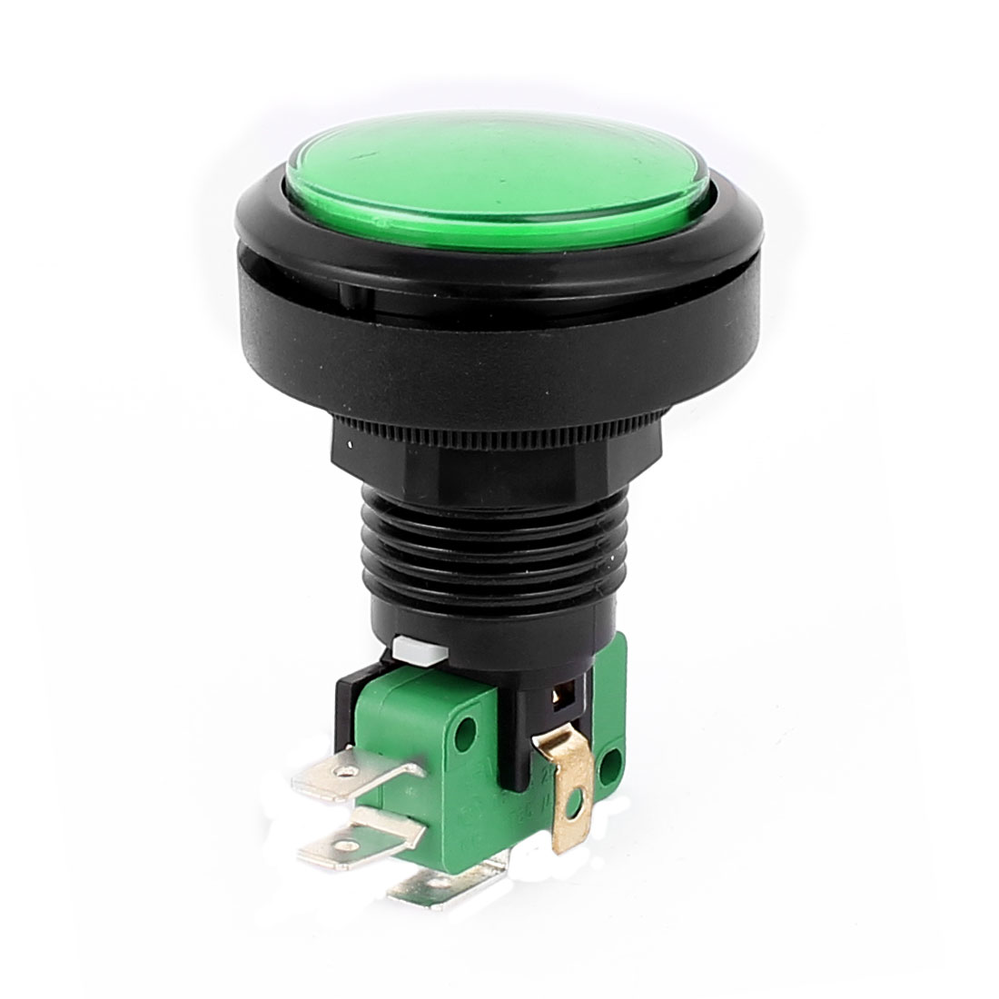 Arcade Game Machines 24mm Thread Dia Cap Momentary SPDT Push Button Switch Green